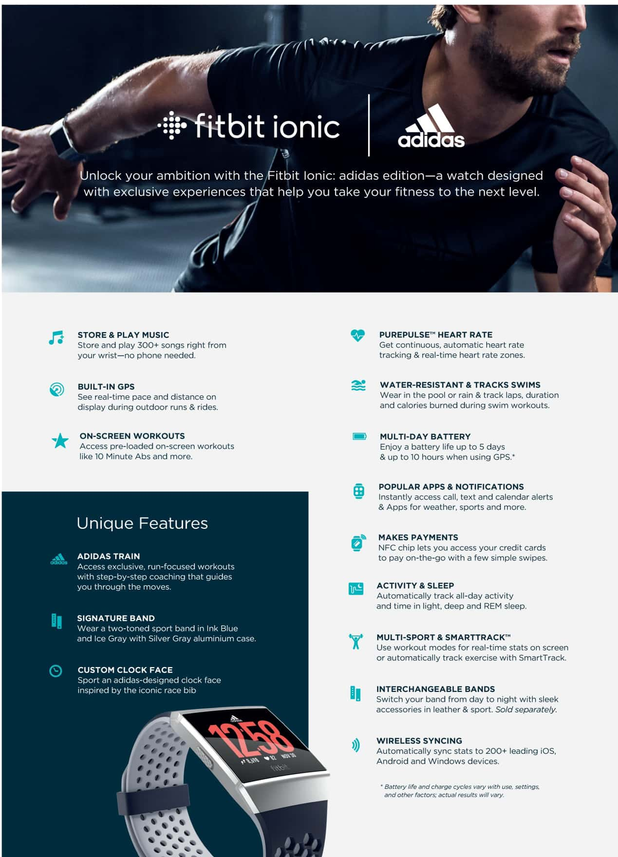 Fitbit Ionic Adidas Info Specifications Page 1
