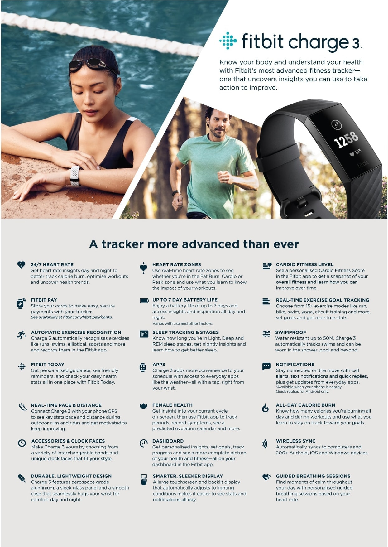 Fitbit Charge 3 Product Specifications